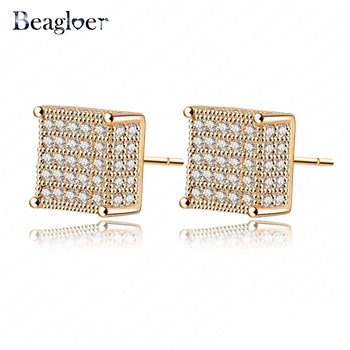 Beagloer Brand Noble Women Earrings Stud Gold Color Micro Inlay AAA Cubic Zirconia Wedding Square Earrings Jewelry CER0106